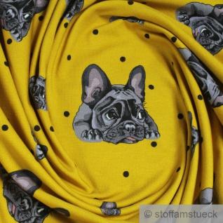 0, 5 Meter Baumwolle Elastan Single Jersey senf Französische Bulldogge Hund