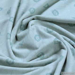 0, 5 Meter Bio-Baumwolle Elastan Single Jersey pastelltürkis meliert Pusteblume klein kbA
