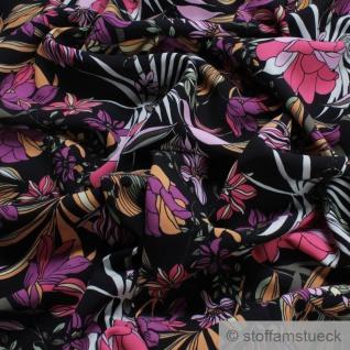 Stoff Viskose schwarz Blume pink fließend leicht weich Blumen farbenfroh - Vorschau 2