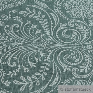Stoff Leinen Ornament grün weiß Reinleinen - Vorschau 4