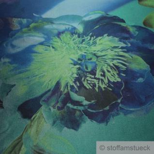 Stoff Polyester Kleidertaft blau Orchidee grün Taft bedruckt blickdicht - Vorschau 3