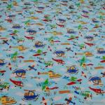 Kinderstoff Baumwolle Elastan Single Jersey hellblau Flugzeug Oeko-Tex 100 Looping
