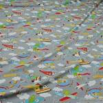 Kinderstoff Baumwolle Elastan Single Jersey hellgrau Flugzeug Oeko-Tex 100 Looping