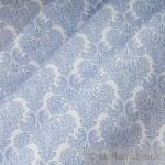 10 Meter Stoff Polyester Baumwolle weiß Ornament hellblau feingezeichnet