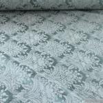 Stoff Polyester Baumwolle Jacquard Ornament türkis ecru 280 cm breit
