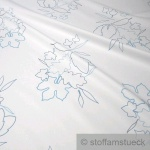 10 Meter Stoff Polyester Baumwolle Köper weiß Blätter pflegeleicht