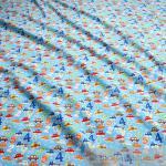 Stoff Kinderstoff Baumwolle blau ABC Auto 1 2 3 Zahlen Zahl Baumwollstoff