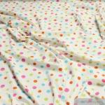 Kinderstoff Baumwolle Elastan Single Jersey Punkte ecru bunt Oeko-Tex Standard 100