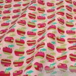 10 Meter Stoff Baumwolle rosa Apfel Retro - Stil Baumwollstoff Apfel