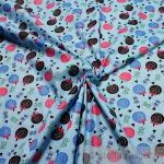 10 Meter Kinderstoff Baumwolle hellblau Lutscher Lolly Lollipop Baumwollstoff