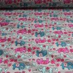 Kinderstoff Stoff Baumwolle hellgrau Elefant Oeko-Tex Standard 100 Blümchen
