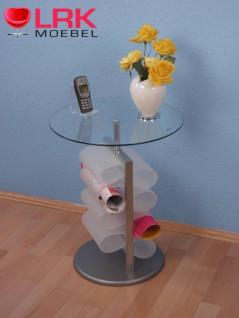 2903 Beistelltisch Ablagetisch Tisch mit Klarglas und 8 Zeitungstaschen