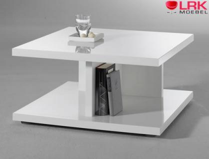 Moderner Couchtisch Beistelltisch Tisch mit T-Fuß in Hochglanz Weiß