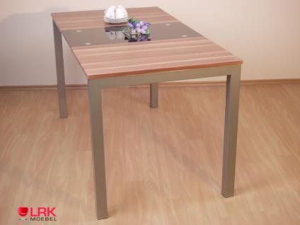 Esstisch Tisch Möbel mit Schwarglaseinlage Holz Nussbaum 140x75 cm