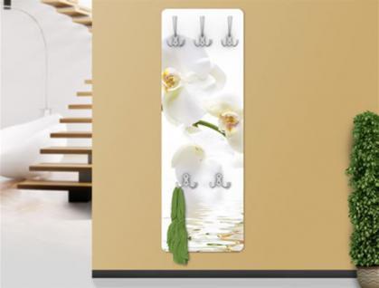 "Design Wandgarderobe ""White Orchid"" Print Garderobe Möbel Diele Flur Haken Neu"