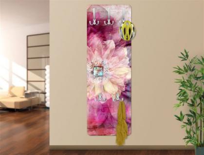 Design Wandgarderobe Flower Druck Print Garderobe Möbel Diele Flur Haken Neu