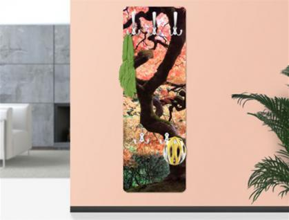 Design Wandgarderobe Japanischer Garten Print Garderobe Möbel Diele Flur Haken
