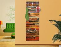 "Design Wandgarderobe ""Bretterstapel"" Print Garderobe Möbel Diele Flur Haken Neu"