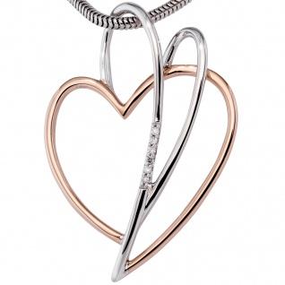 Anhänger Herz 585 Gold Rotgold bicolor 6 Diamanten Brillanten Herzanhänger - Vorschau 2
