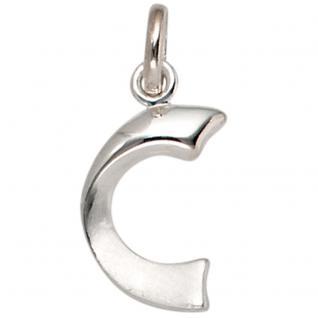 Anhänger Buchstabe C 925 Sterling Silber matt Buchstabenanhänger
