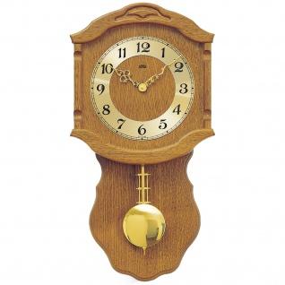 AMS 964/4 Wanduhr Quarz mit Pendel golden Holz Eiche Pendeluhr