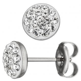 Ohrstecker rund Edelstahl mit Kristallsteinen Ohrringe