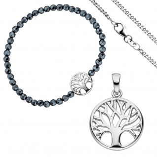 Schmuck-Set Baum Lebensbaum Weltenbaum 925 Silber Armband Anhänger Kette 42 cm