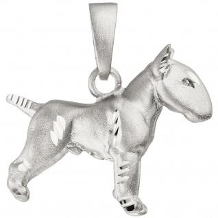 Anhänger Bullterrier Hund 925 Sterling Silber matt Silberanhänger