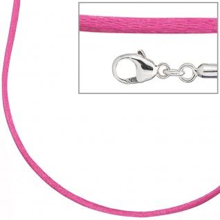 Collier Halskette Seide pink 42 cm, Verschluss 925 Silber Kette