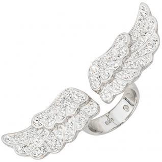 Damen Ring Engelsflügel offen 925 Sterling Silber mit Kristallsteinen
