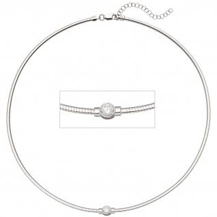 Collier Halskette 925 Sterling Silber 1 Zirkonia 46 cm Kette - Vorschau 1
