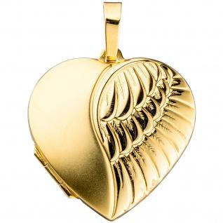 Medaillon Herz für 2 Fotos 333 Gold Gelbgold matt Anhänger zum Öffnen - Vorschau 4