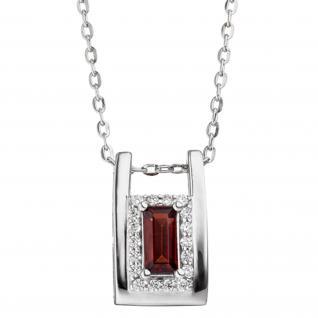 Collier Kette mit Anhänger 925 Sterling Silber 18 Zirkonia 1 Granat rot 45 cm