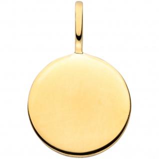 Anhänger Gravur Gravurplatte rund 925 Sterling Silber gold vergoldet
