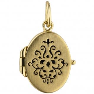 Medaillon oval für 1 Foto 925 Sterling Silber gold vergoldet
