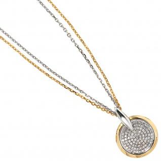 Anhänger rund 585 Gold Gelbgold Weißgold bicolor 91 Diamanten Brillanten - Vorschau 4