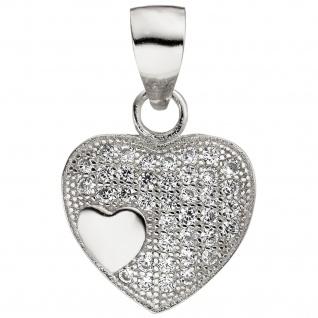 Anhänger Herz Herzen 925 Sterling Silber 38 Zirkonia Herzanhänger