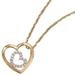 Anhänger Herz 585 Gold Gelbgold 16 Diamanten Brillanten 0, 12ct. Herzanhänger - Vorschau 3