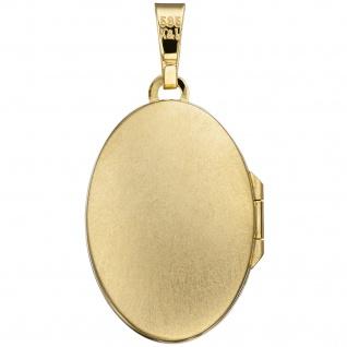Medaillon oval für 2 Fotos 585 Gold Gelbgold matt Anhänger zum Öffnen - Vorschau 2