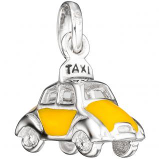 Kinder Anhänger Auto / Taxi 925 Silber mit gelber Lackeinlage Kinderanhänger