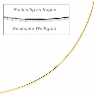 Halsreif 585 Gelbgold Weißgold beidseitig tragbar 45 cm Gold Kette Halskette