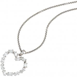 Anhänger Herz 925 Sterling Silber rhodiniert 12 Zirkonia Herzanhänger - Vorschau 4