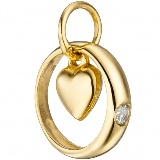 Kinder Taufring mit Herz 333 Gold Gelbgold 1 Zirkonia Taufanhänger