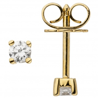 Ohrstecker 585 Gold Gelbgold 2 Diamanten Brillanten 0, 14 ct. Ohrringe