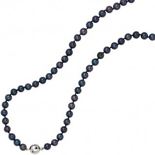 Collier Perlenkette Akoya Perlen dunkel 45 cm Halskette Kette