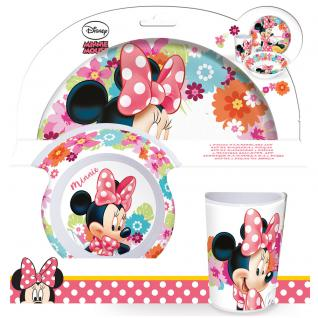 MINNIE MOUSE Kinder Frühstücks-Set 3-teilig aus Melamin Kindergeschirr rosa pink