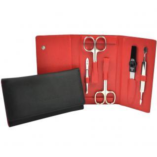 Pfeilring Maniküretui VEGAN schwarz rot 5-teilige Bestückung Maniküre Set
