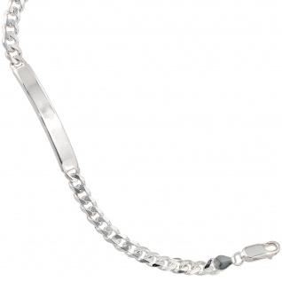 Schildband 925 Sterling Silber 21 cm Gravur ID Armband Karabiner