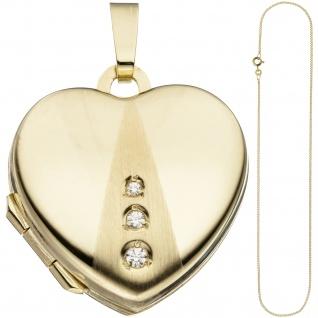 Medaillon Herz Anhänger zum Öffnen für Fotos 333 Gold 3 Zirkonia mit Kette 50 cm - Vorschau 2
