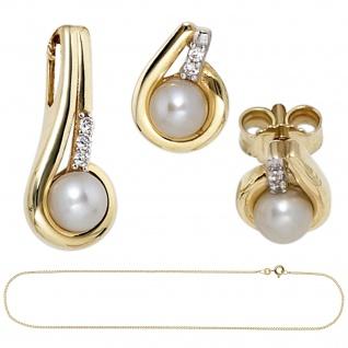 Schmuck-Set 333 Gold Gelbgold Perlen Zirkonia Ohrringe und Kette 45 cm - Vorschau 2